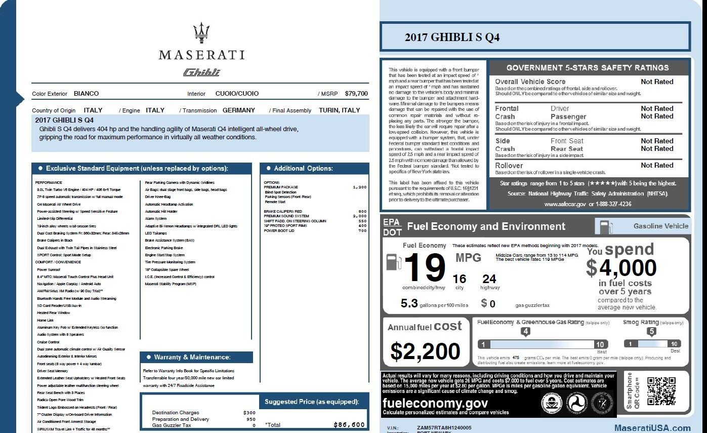 New 2017 Maserati Ghibli S Q4 For Sale In Greenwich, CT 1164_p26