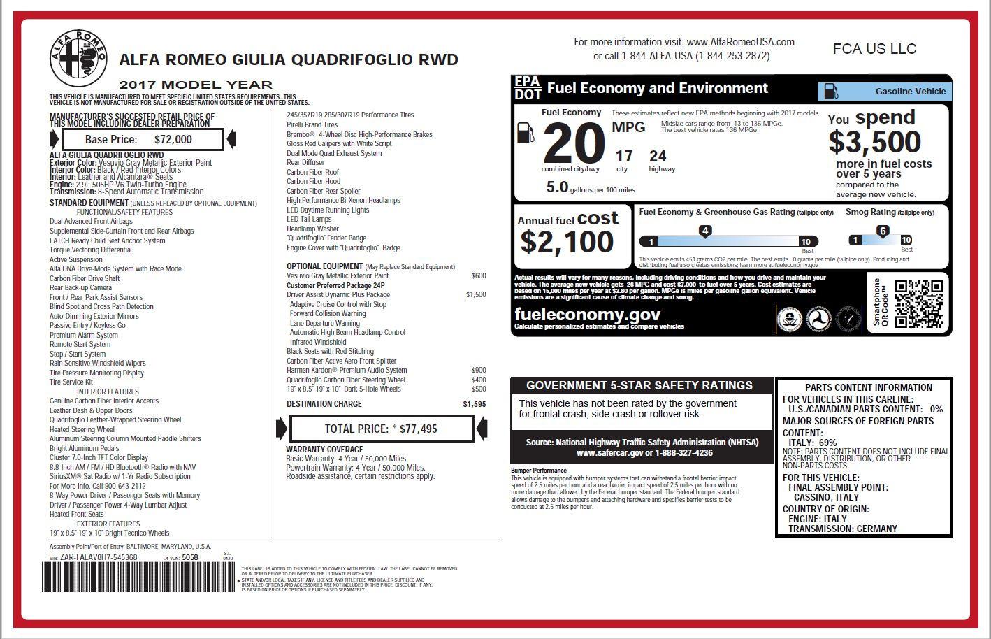 New 2017 Alfa Romeo Giulia Quadrifoglio For Sale In Greenwich, CT 1258_p23