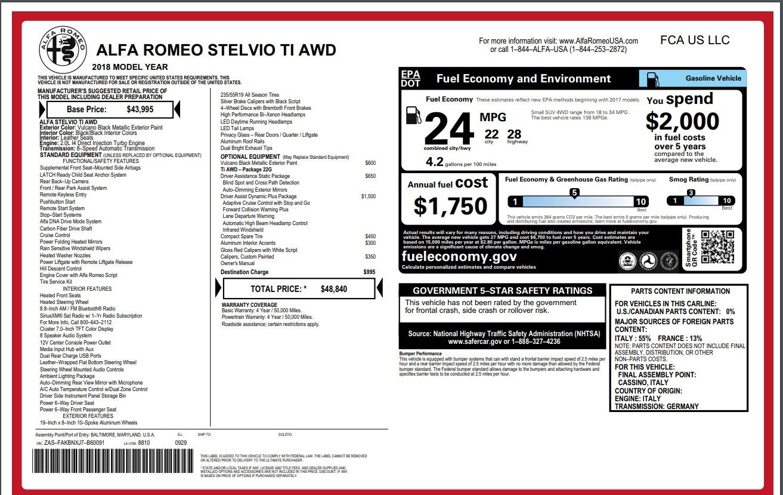 New 2018 Alfa Romeo Stelvio Ti Q4 For Sale In Greenwich, CT 1352_p27