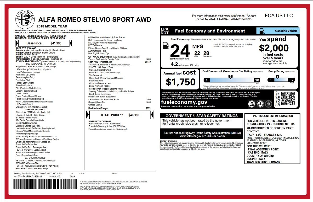 New 2018 Alfa Romeo Stelvio Sport Q4 For Sale In Greenwich, CT 1366_p26