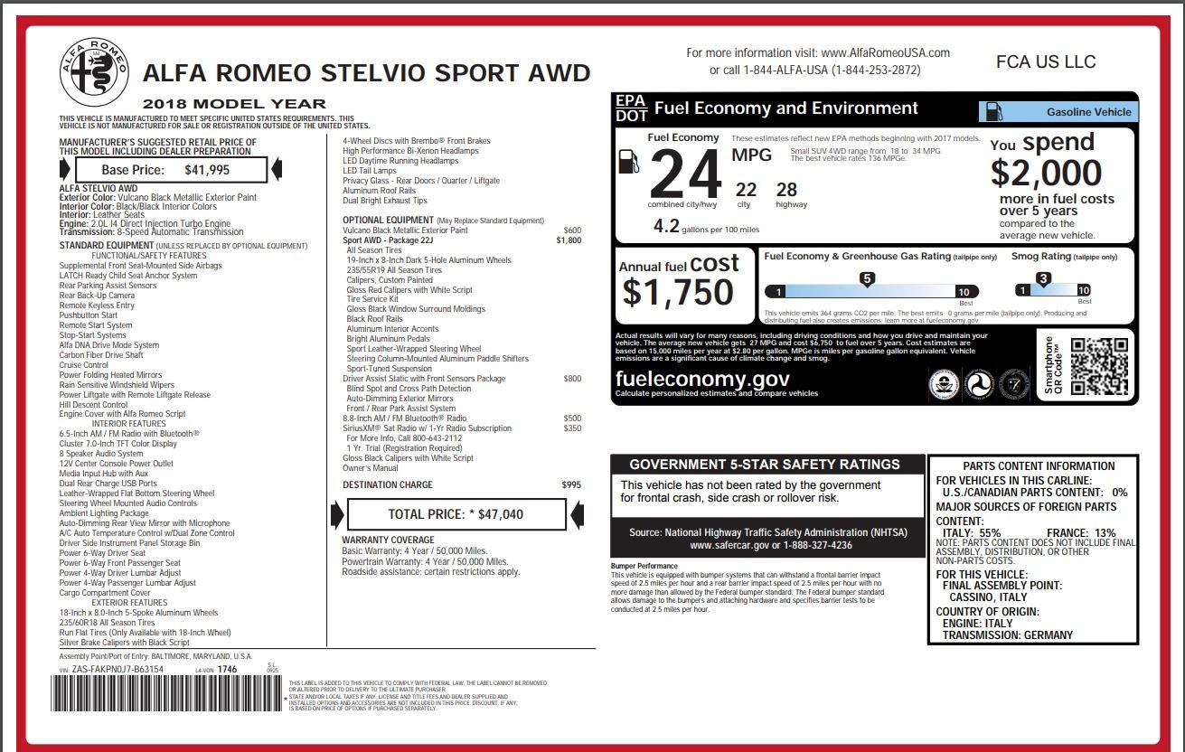 New 2018 Alfa Romeo Stelvio Sport Q4 For Sale In Greenwich, CT 1367_p26