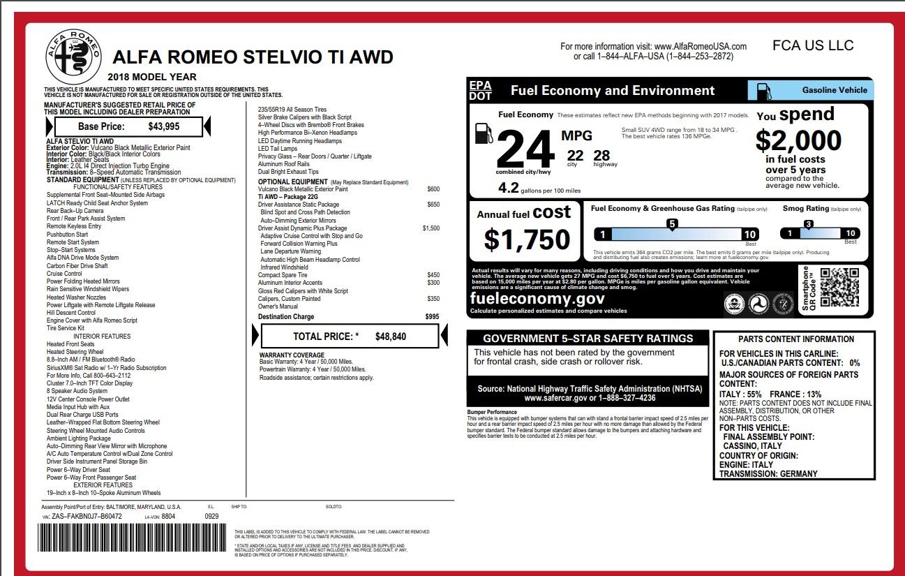 Used 2018 Alfa Romeo Stelvio Ti Q4 For Sale In Greenwich, CT 1374_p26