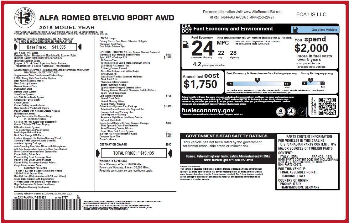 New 2018 Alfa Romeo Stelvio Sport Q4 For Sale In Greenwich, CT 1375_p26