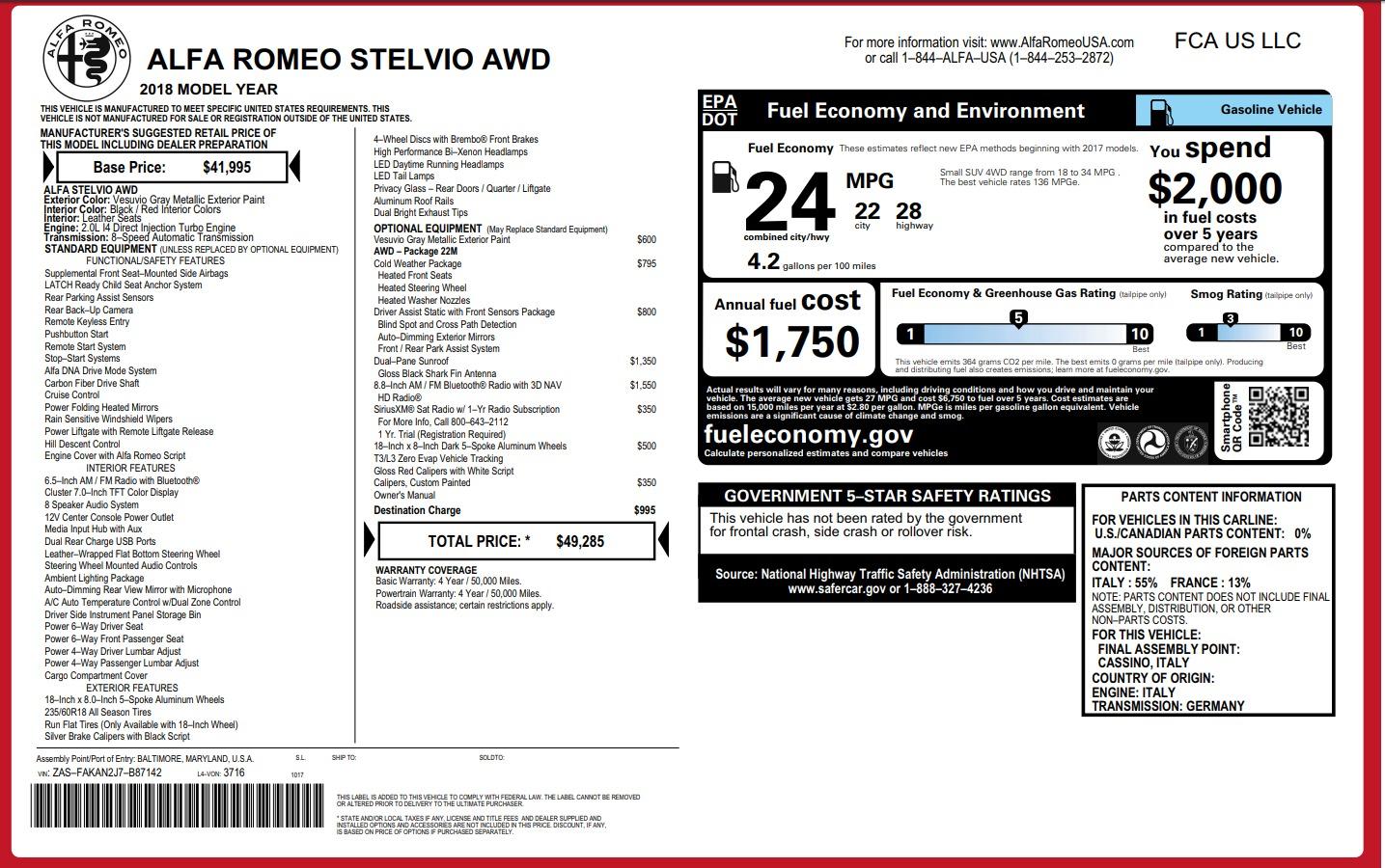 New 2018 Alfa Romeo Stelvio Q4 For Sale In Greenwich, CT 1637_p26