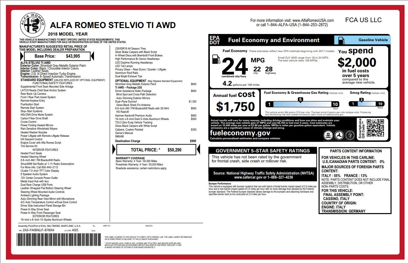New 2018 Alfa Romeo Stelvio Ti Q4 For Sale In Greenwich, CT 1641_p2
