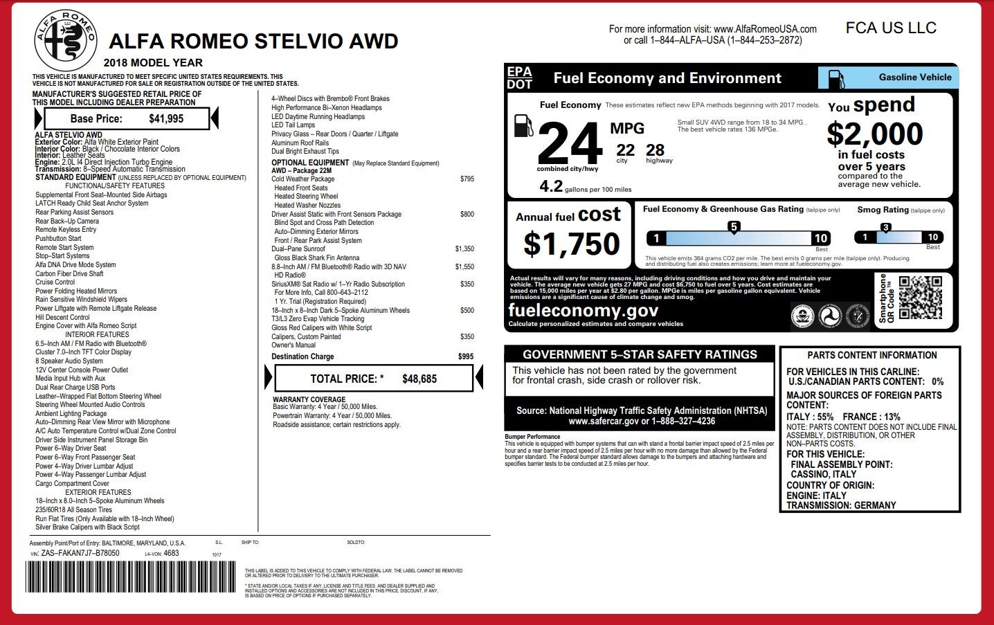 New 2018 Alfa Romeo Stelvio Q4 For Sale In Greenwich, CT 1649_p26
