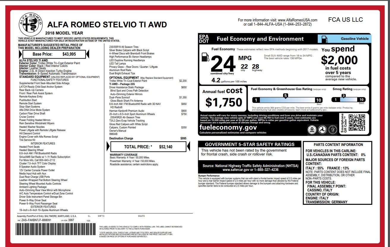 New 2018 Alfa Romeo Stelvio Ti Q4 For Sale In Greenwich, CT 1679_p26