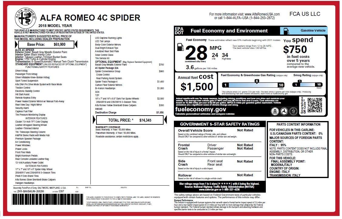 New 2018 Alfa Romeo 4C Spider For Sale In Greenwich, CT 1693_p34