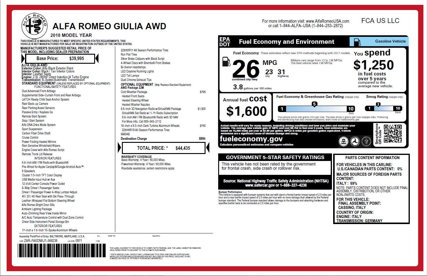 New 2018 Alfa Romeo Giulia Q4 For Sale In Greenwich, CT 1752_p26
