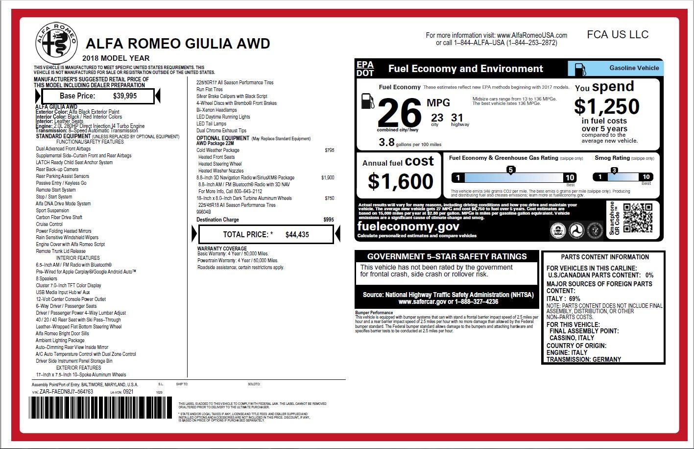 New 2018 Alfa Romeo Giulia Q4 For Sale In Greenwich, CT 1757_p26