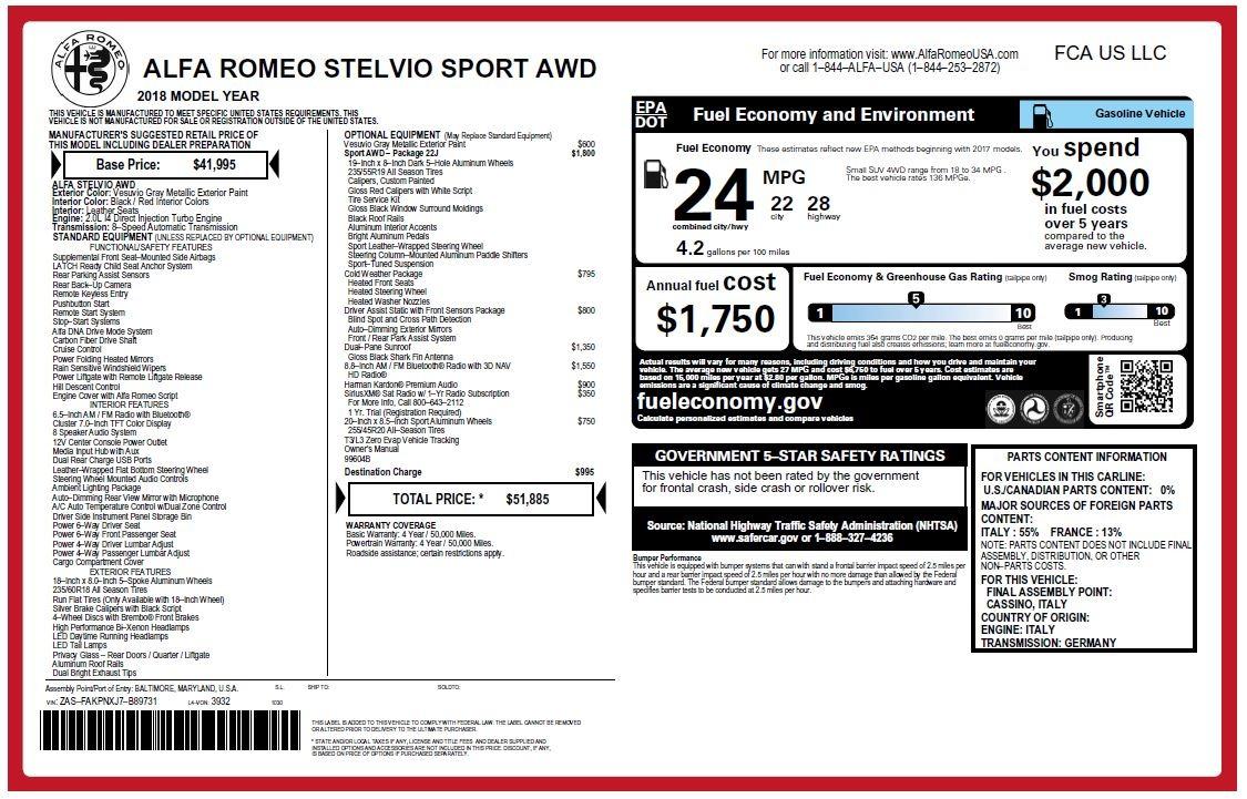 New 2018 Alfa Romeo Stelvio Sport Q4 For Sale In Greenwich, CT 1761_p26