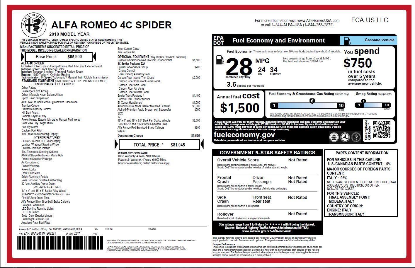 New 2018 Alfa Romeo 4C Spider For Sale In Greenwich, CT 2010_p31