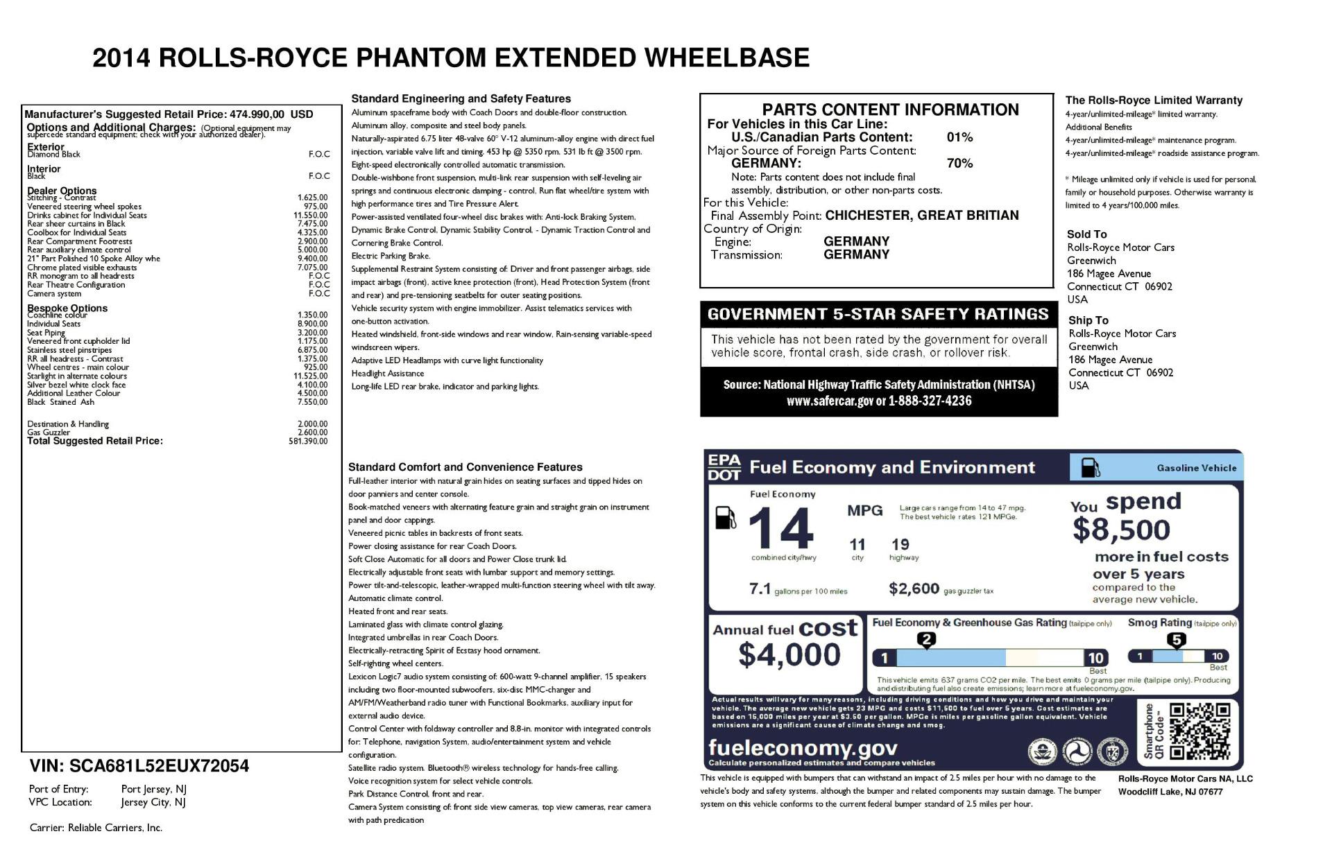 Used 2014 Rolls-Royce Phantom EWB For Sale In Greenwich, CT 2051_p37