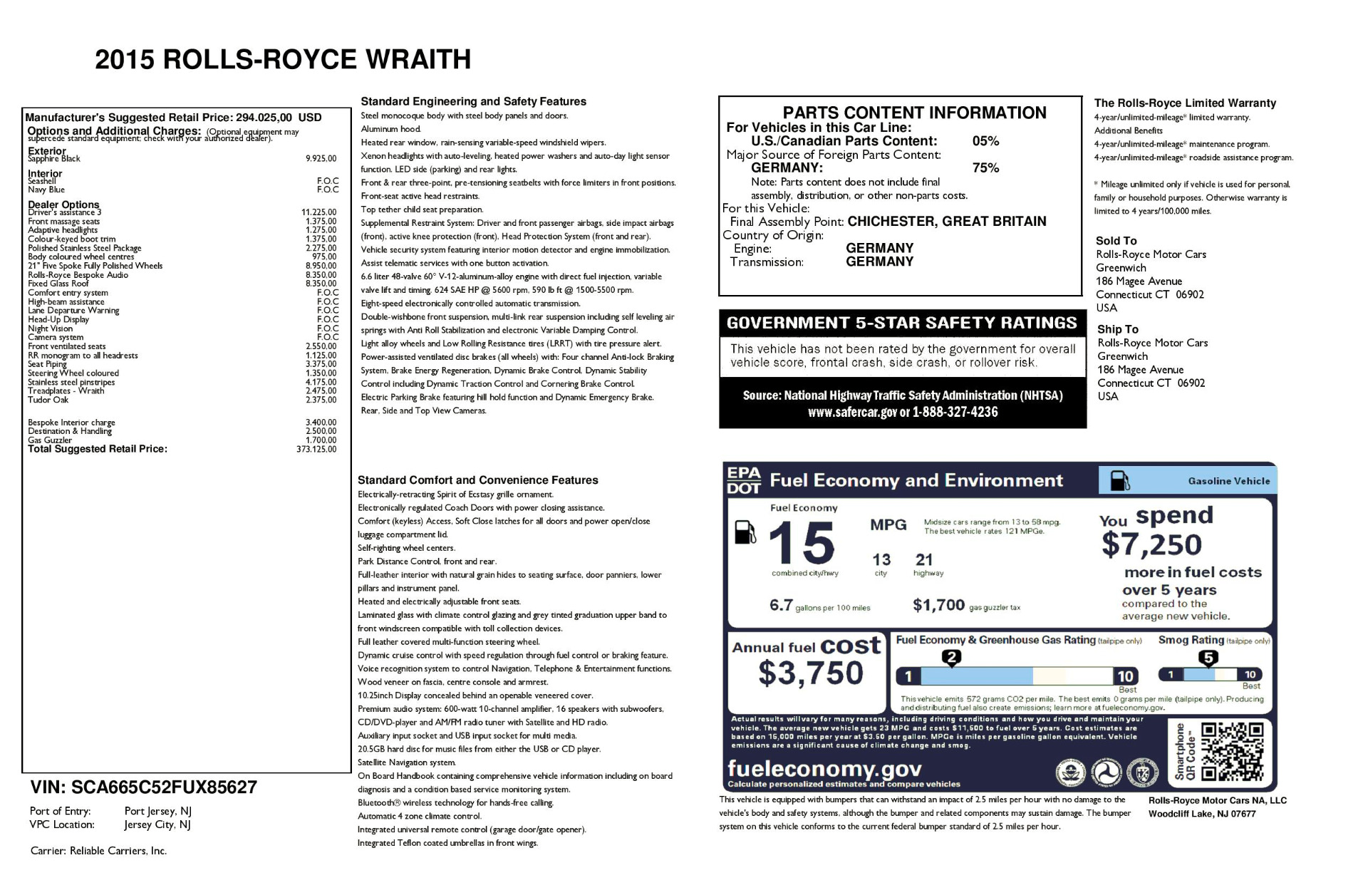 Used 2015 Rolls-Royce Wraith  For Sale In Greenwich, CT 2099_p29