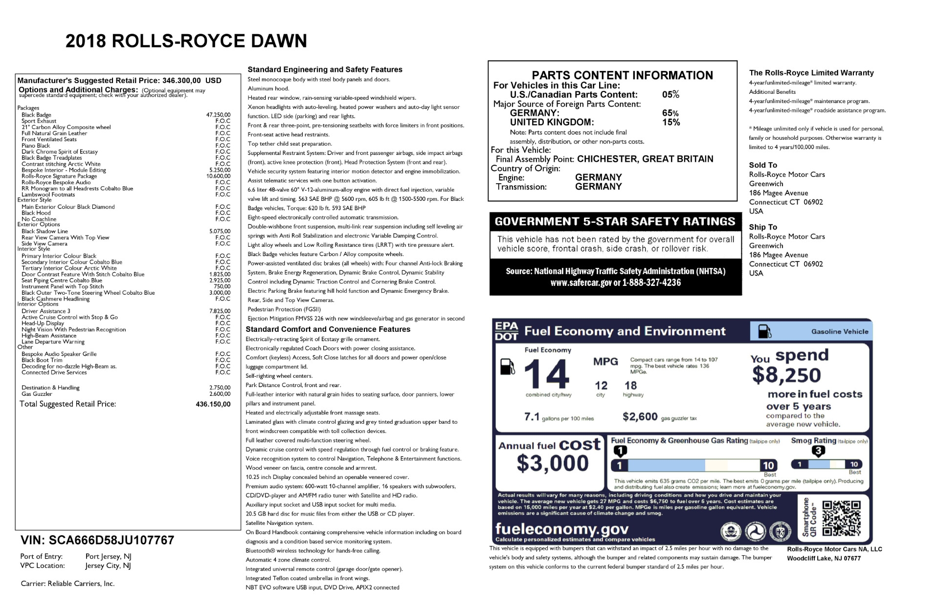 New 2018 Rolls-Royce Dawn Black Badge For Sale In Greenwich, CT 2102_p38