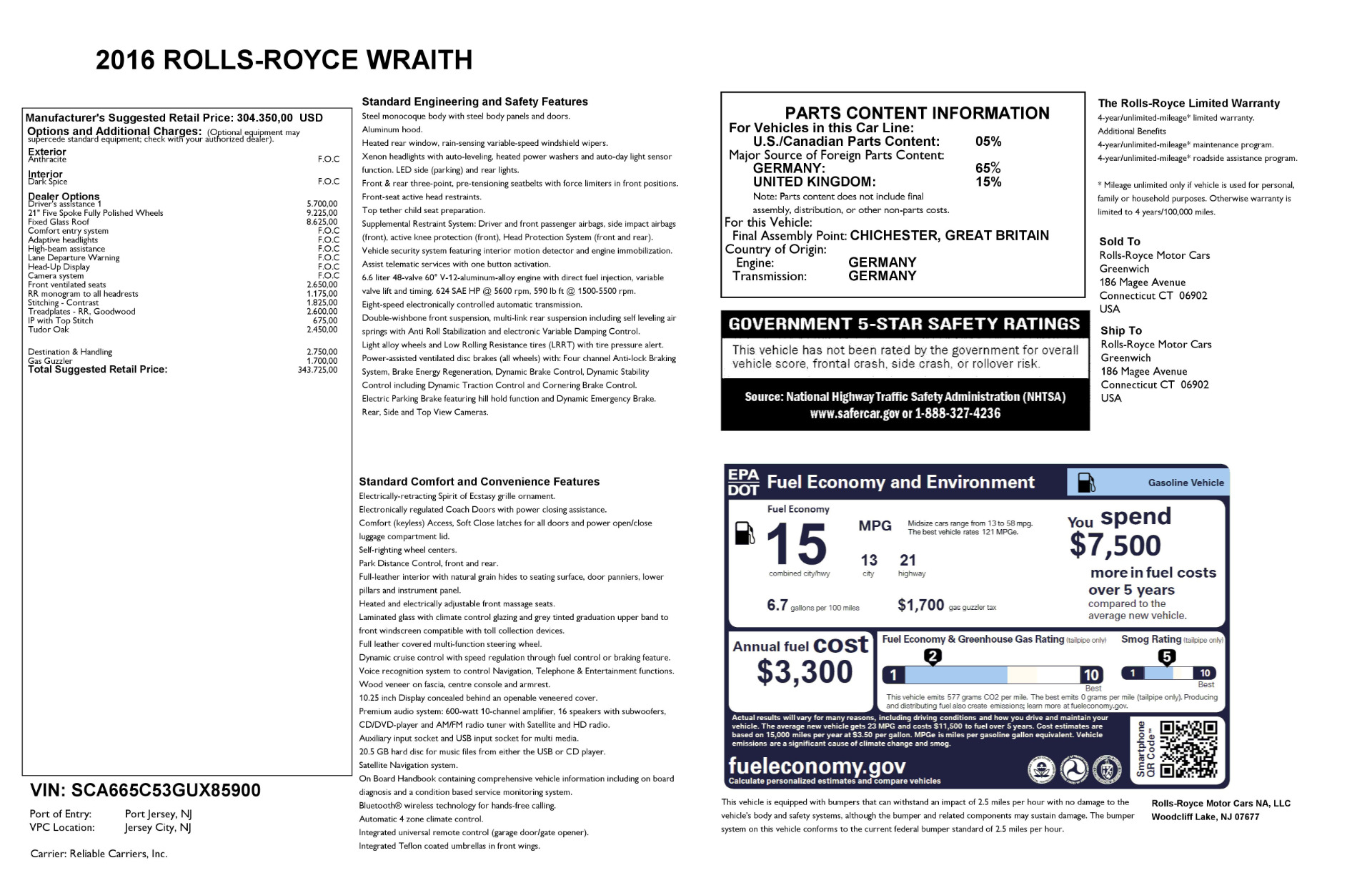 Used 2016 Rolls-Royce Wraith  For Sale In Greenwich, CT 214_p28