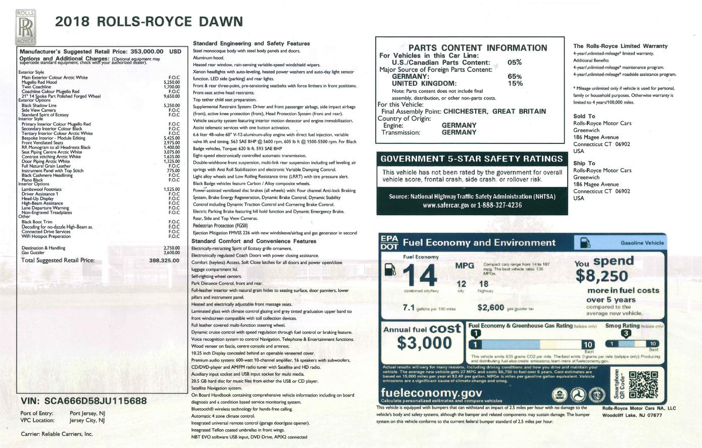 New 2018 Rolls-Royce Dawn  For Sale In Greenwich, CT 2180_p31