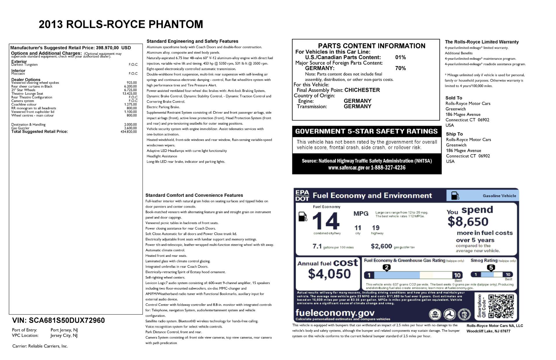 Used 2013 Rolls-Royce Phantom  For Sale In Greenwich, CT 2208_p24