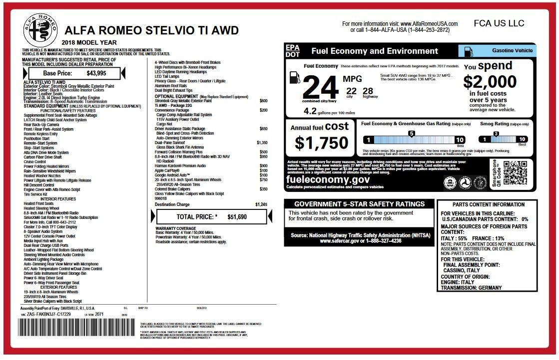 New 2018 Alfa Romeo Stelvio Ti Q4 For Sale In Greenwich, CT 2334_p2