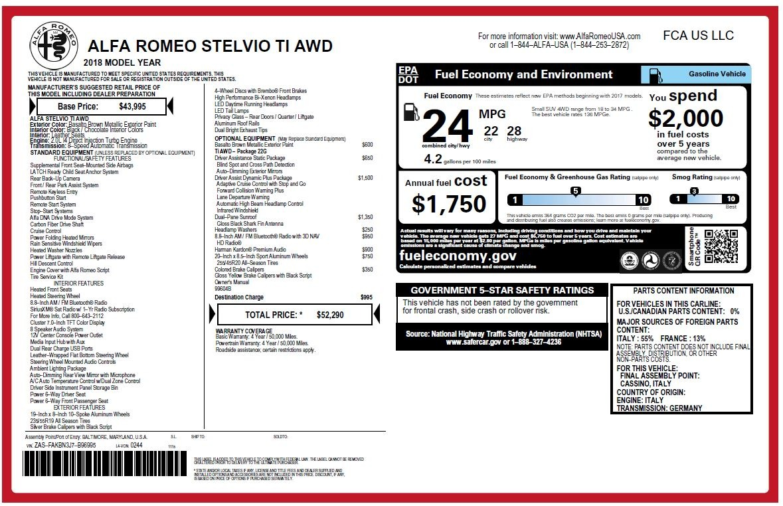 New 2018 Alfa Romeo Stelvio Ti Q4 For Sale In Greenwich, CT 2417_p26