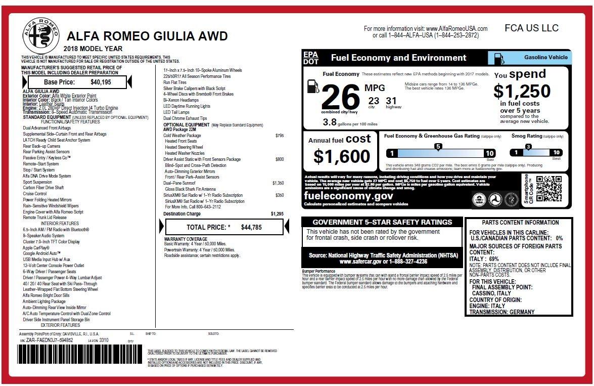 New 2018 Alfa Romeo Giulia Q4 For Sale In Greenwich, CT 2437_p26