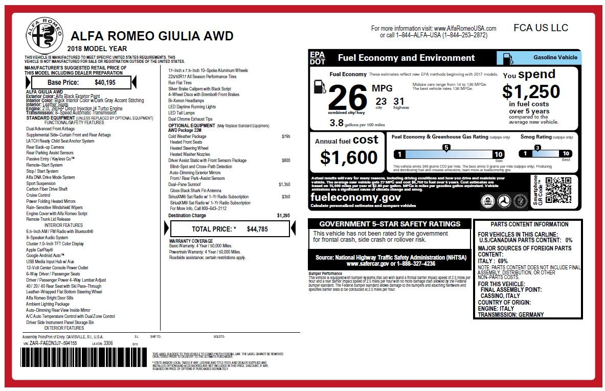 New 2018 Alfa Romeo Giulia Q4 For Sale In Greenwich, CT 2438_p25