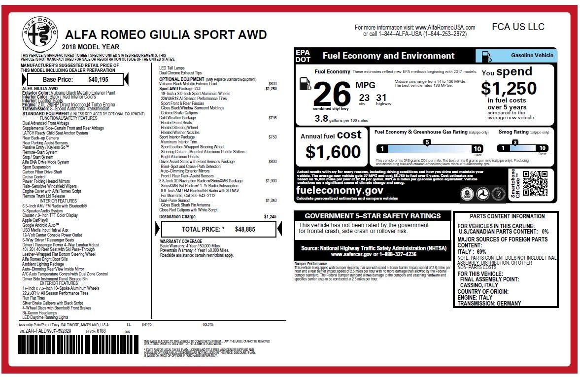 New 2018 Alfa Romeo Giulia Sport Q4 For Sale In Greenwich, CT 2440_p20