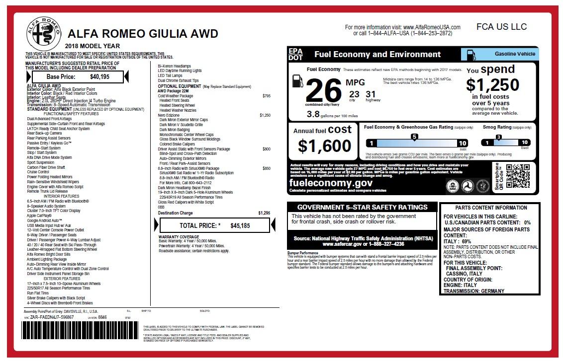 New 2018 Alfa Romeo Giulia Q4 For Sale In Greenwich, CT 2453_p26