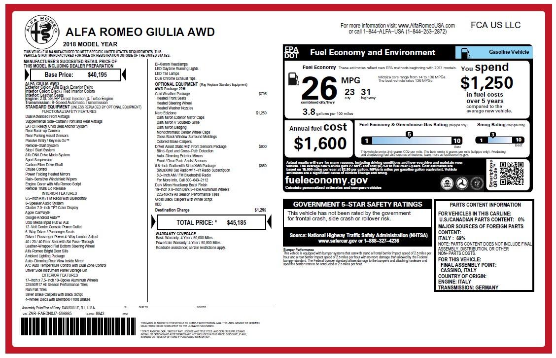 New 2018 Alfa Romeo Giulia Q4 For Sale In Greenwich, CT 2455_p25