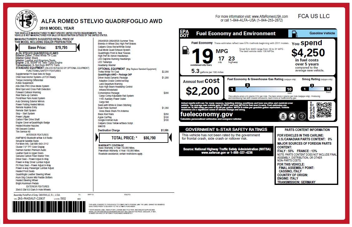 New 2018 Alfa Romeo Stelvio Quadrifoglio Quadrifoglio For Sale In Greenwich, CT 2456_p31