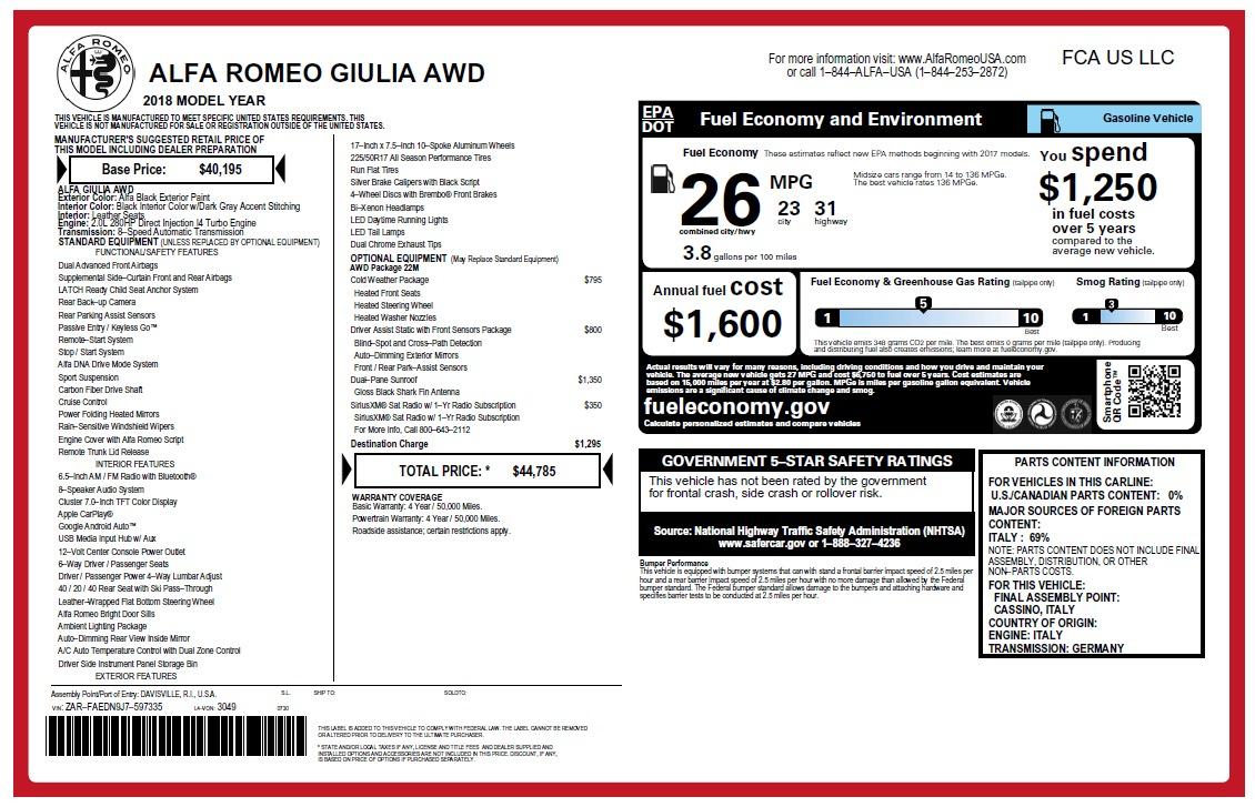 New 2018 Alfa Romeo Giulia Q4 For Sale In Greenwich, CT 2467_p2