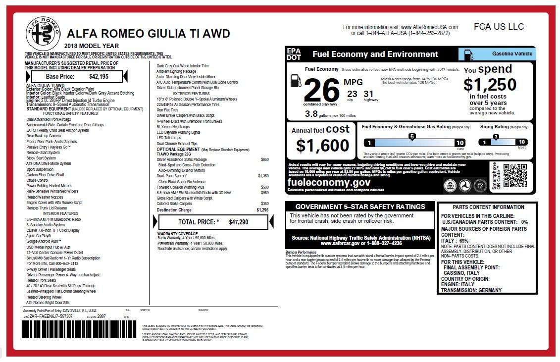 New 2018 Alfa Romeo Giulia Ti Q4 For Sale In Greenwich, CT 2468_main