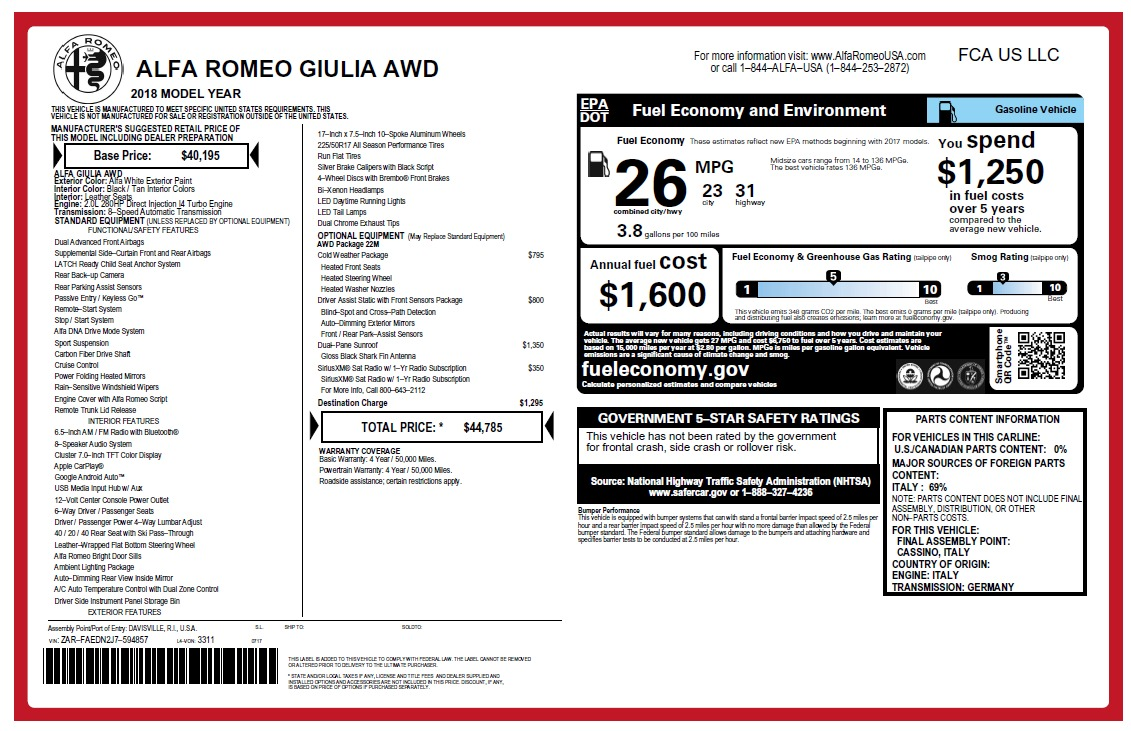 New 2018 Alfa Romeo Giulia Q4 For Sale In Greenwich, CT 2475_p26