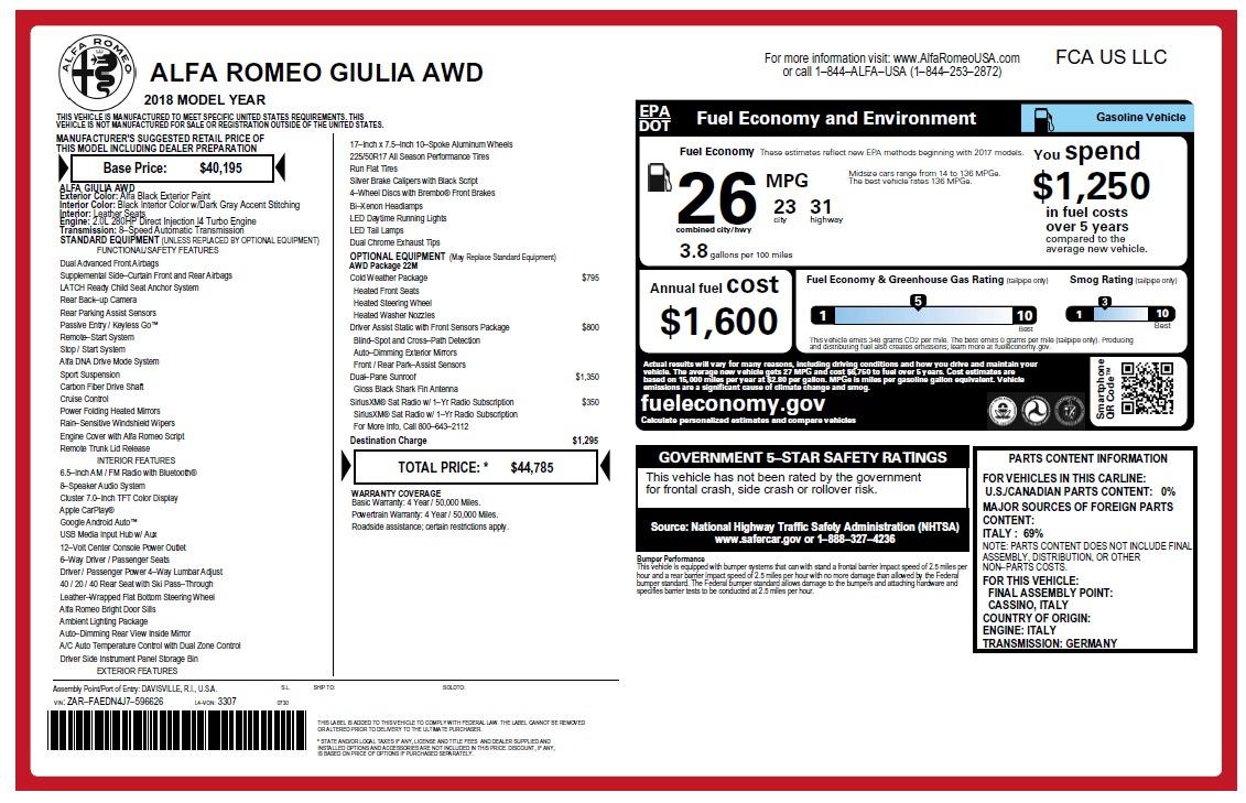 New 2018 Alfa Romeo Giulia Q4 For Sale In Greenwich, CT 2476_p22