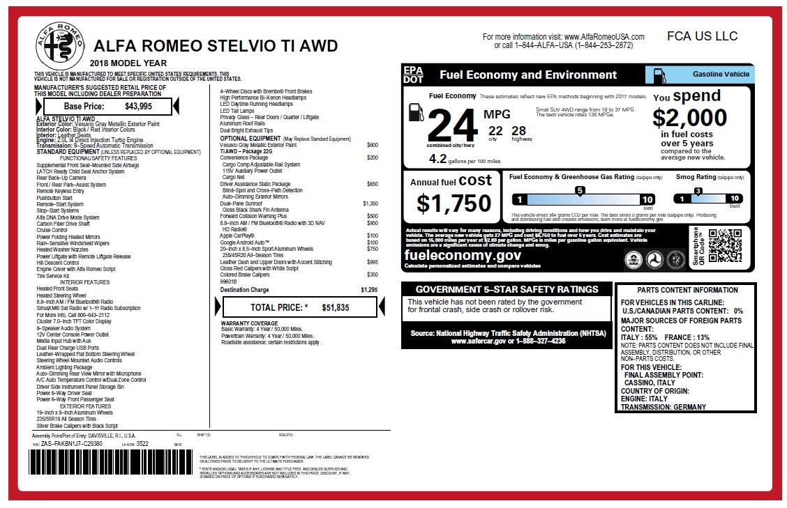New 2018 Alfa Romeo Stelvio Ti Q4 For Sale In Greenwich, CT 2478_p26