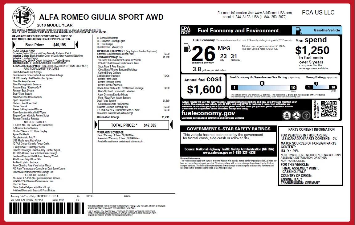 New 2018 Alfa Romeo Giulia Sport Q4 For Sale In Greenwich, CT 2509_p2