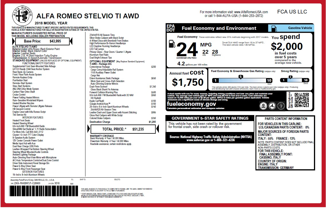 New 2018 Alfa Romeo Stelvio Ti Q4 For Sale In Greenwich, CT 2633_p2