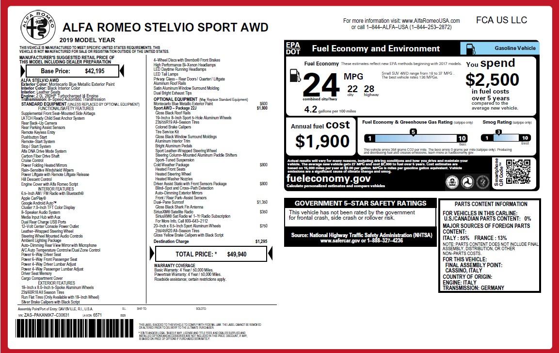 New 2019 Alfa Romeo Stelvio SPORT AWD For Sale In Greenwich, CT 2652_p31