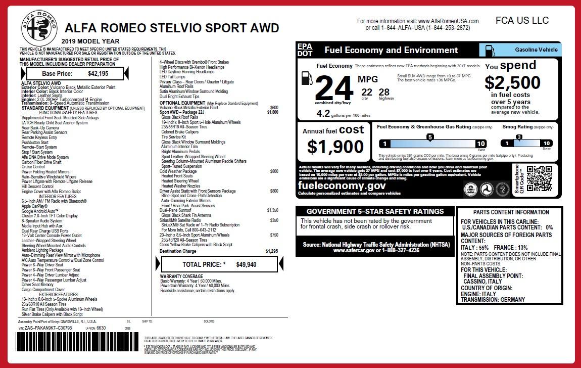New 2019 Alfa Romeo Stelvio Q4 For Sale In Greenwich, CT 2654_p26