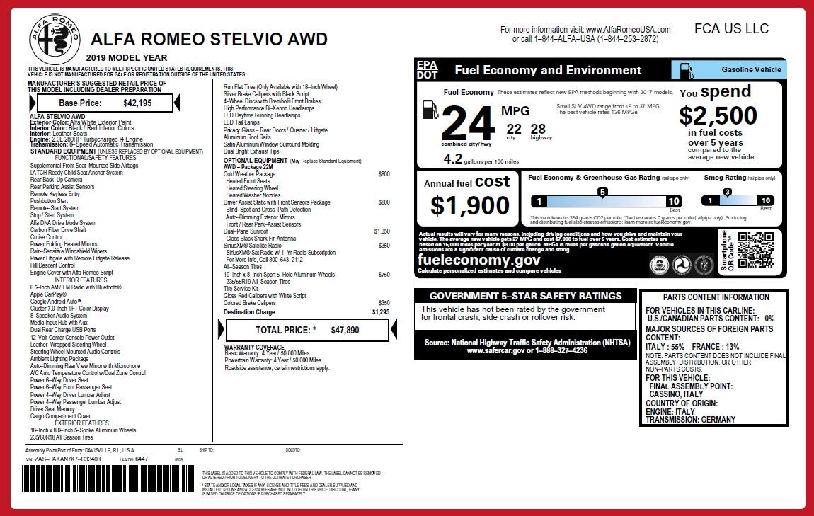 New 2019 Alfa Romeo Stelvio Q4 For Sale In Greenwich, CT 2657_p21
