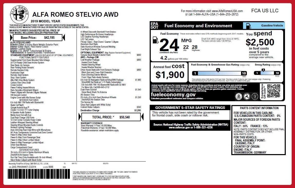 New 2019 Alfa Romeo Stelvio Q4 For Sale In Greenwich, CT 2659_p2