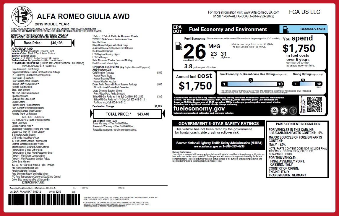 New 2019 Alfa Romeo Giulia Q4 For Sale In Greenwich, CT 2666_p26