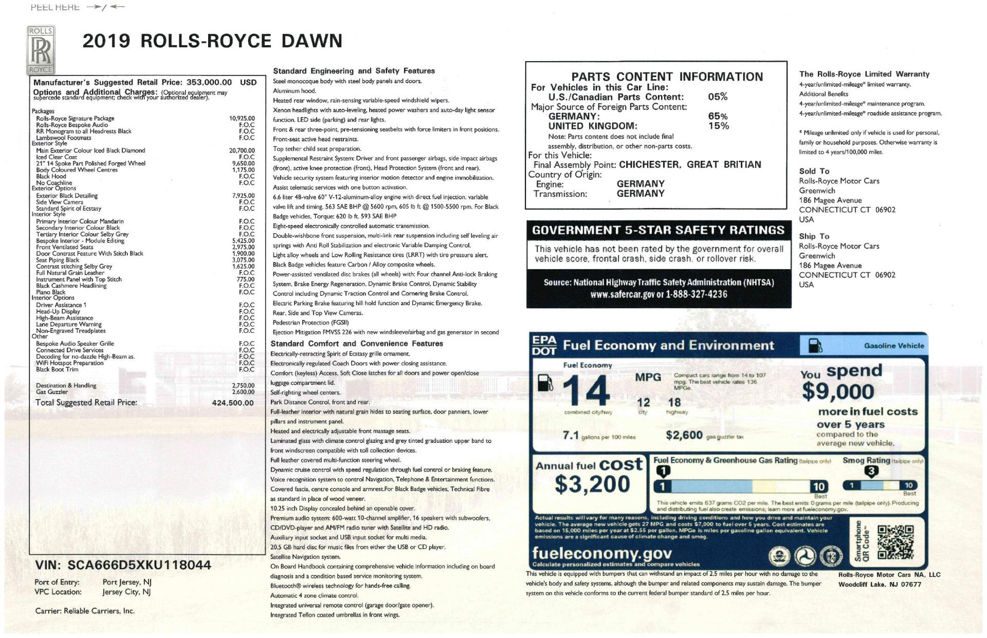 New 2019 Rolls-Royce Dawn  For Sale In Greenwich, CT 2695_p59