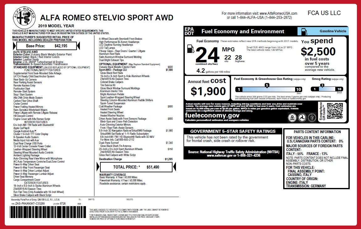 New 2019 Alfa Romeo Stelvio Sport Q4 For Sale In Greenwich, CT 2705_p26