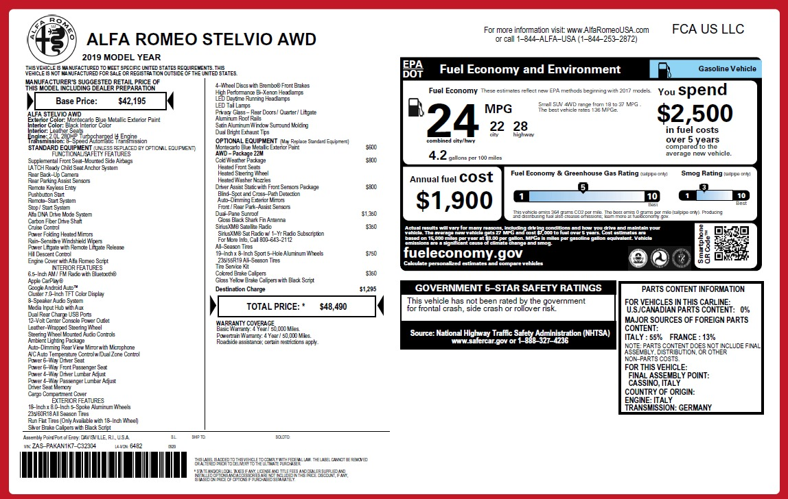 New 2019 Alfa Romeo Stelvio Q4 For Sale In Greenwich, CT 2708_p2
