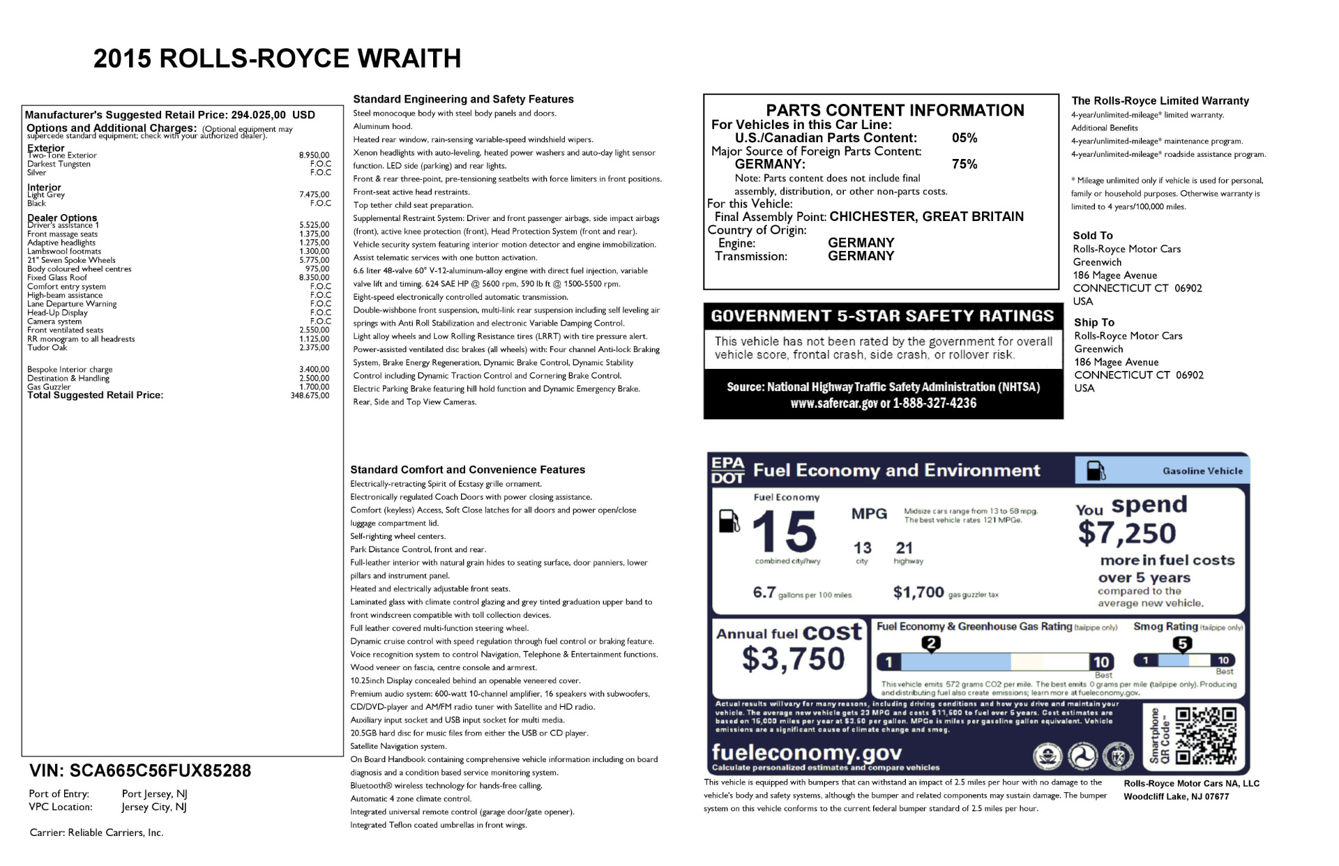 Used 2015 Rolls-Royce Wraith  For Sale In Greenwich, CT 2716_p25