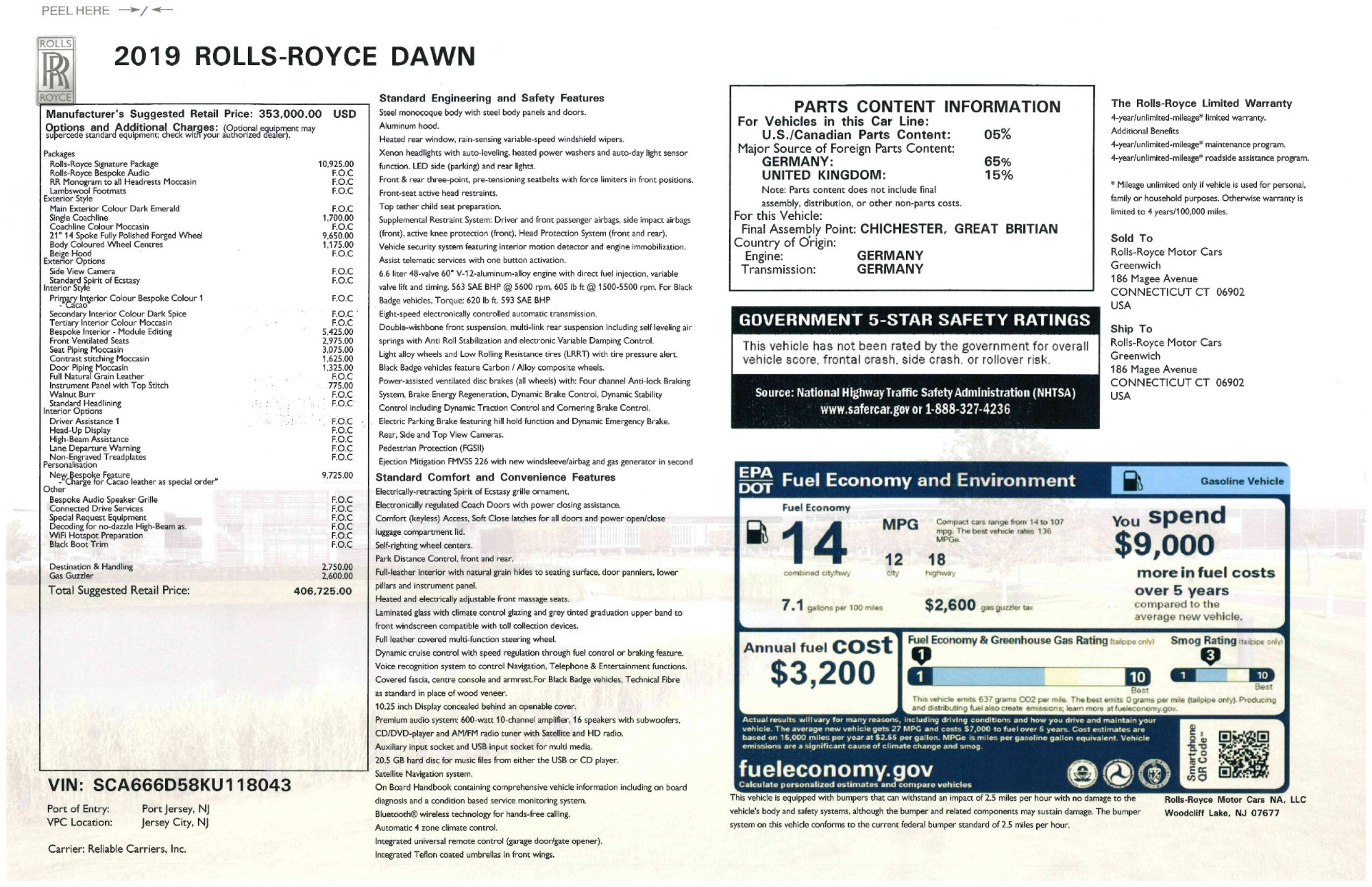 New 2019 Rolls-Royce Dawn  For Sale In Greenwich, CT 2722_p54