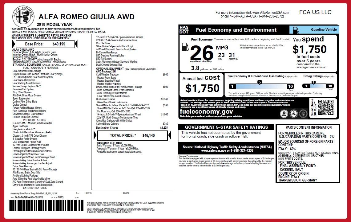 New 2019 Alfa Romeo Giulia Q4 For Sale In Greenwich, CT 2753_p2