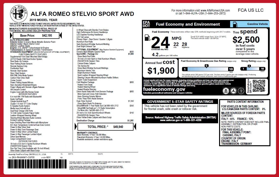 New 2019 Alfa Romeo Stelvio Sport Q4 For Sale In Greenwich, CT 2758_p26