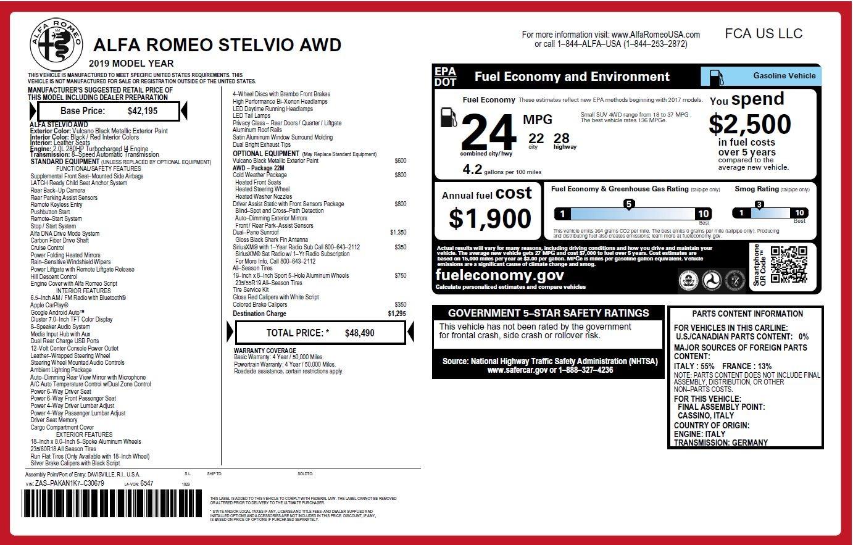 New 2019 Alfa Romeo Stelvio  For Sale In Greenwich, CT 2764_p27